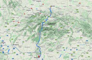 Krakow to Budapest map